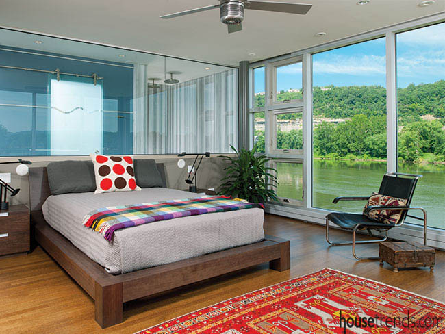 Master bedroom takes advantage of the view