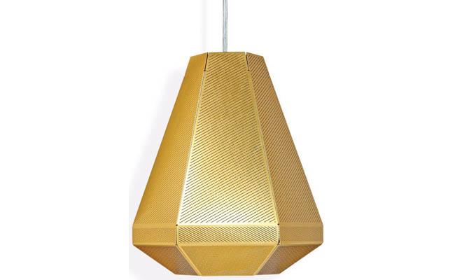 Pendant light made of polished brass