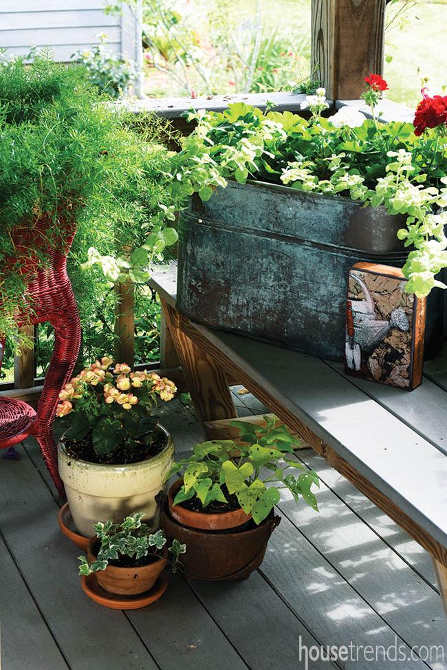 Potted plants color up a deck