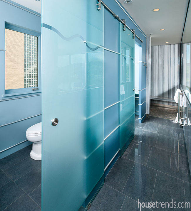 Bathroom shower with a unique floor