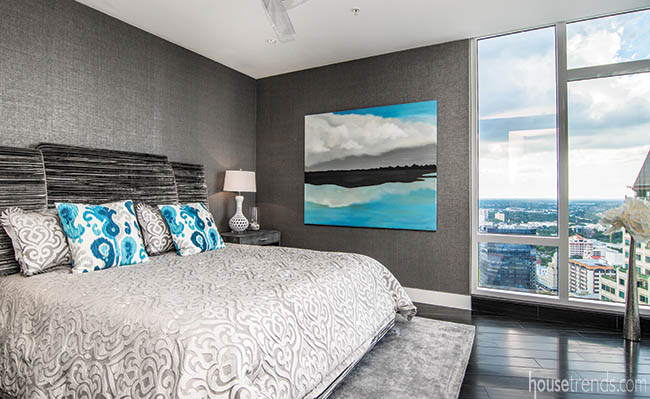 Pops of turquoise add personality to a bedroom