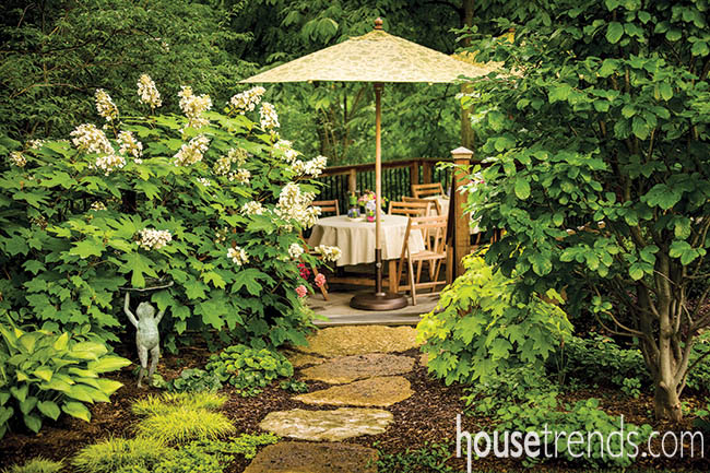 Shady deck design is the perfect place to dine