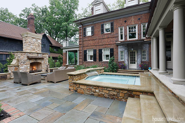 Back yard flaunts a gorgeous bluestone patio