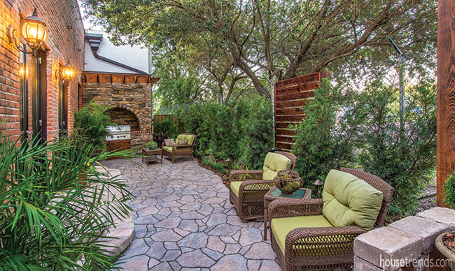 Privacy plants shade an outdoor living space
