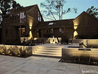 Back yard boasts a contemporary style