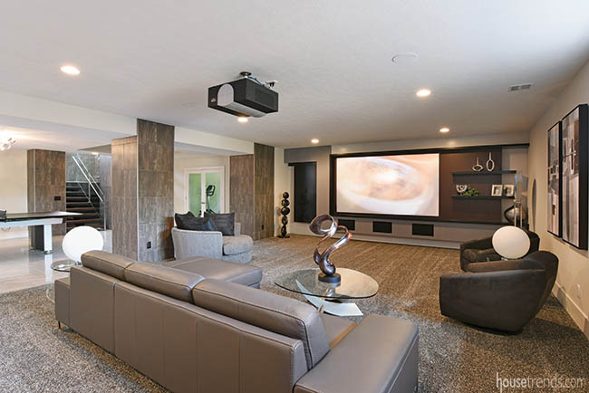Lower level home theater with a central location