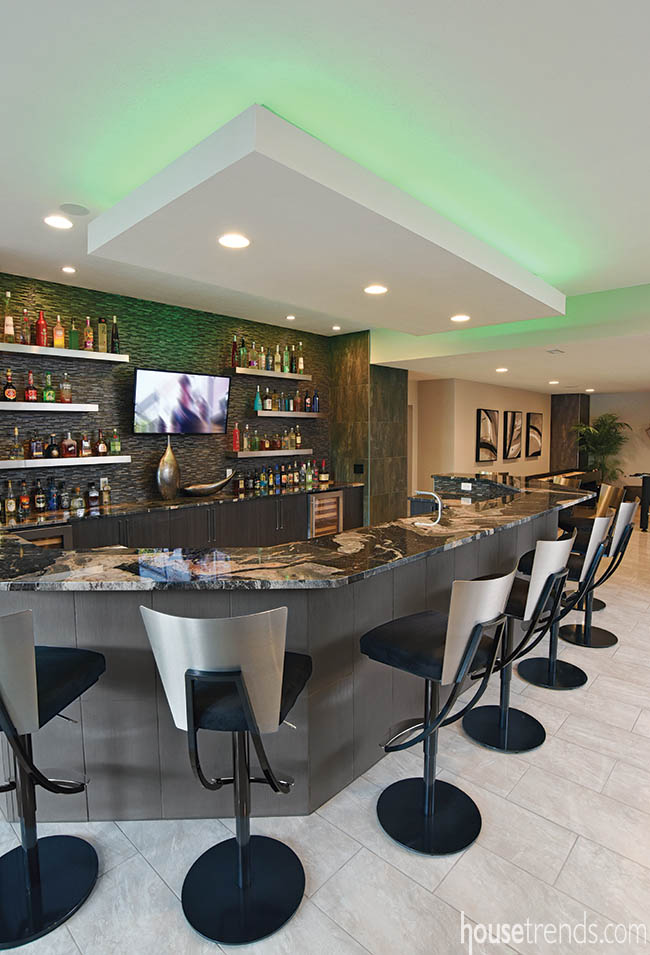 LED lighting adds fun color to a bar ceiling