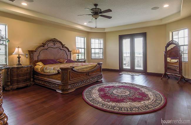 Oriental rug dresses up a master bedroom