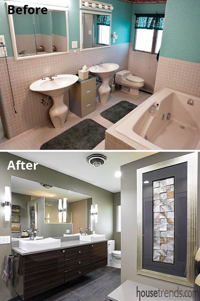 Master bath remodel includes a floating vanity
