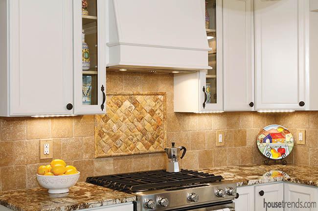 Inset pops against a tile backsplash
