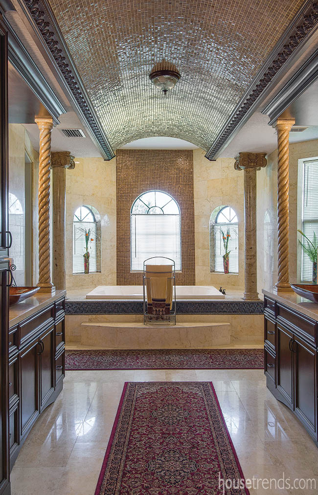 Glass mosaic tile covers a barrel vault ceiling