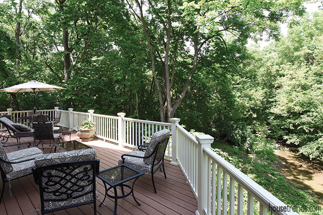 Patio offers view of a creek bed