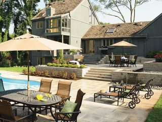 Outdoor living space offers multiple patios