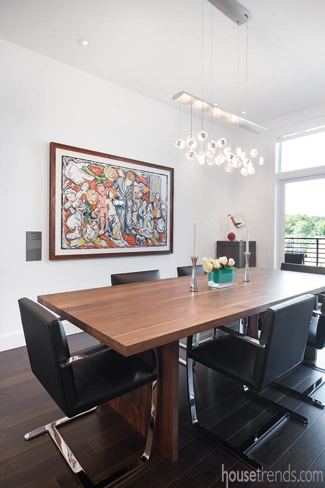 Light fixture adds whimsy to a dining area