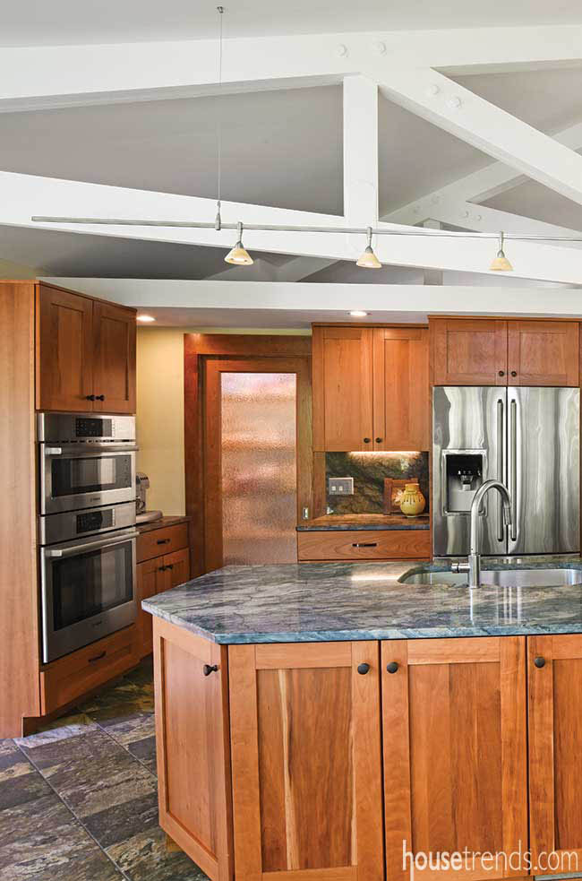 Remodeled kitchen includes a coffee station and pantry