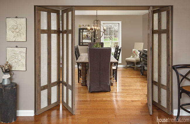 Reclaimed dining room doors with a creative flair