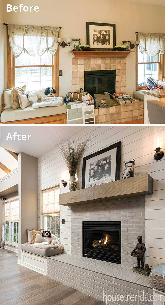 Window seat overlooks a remodeled fireplace