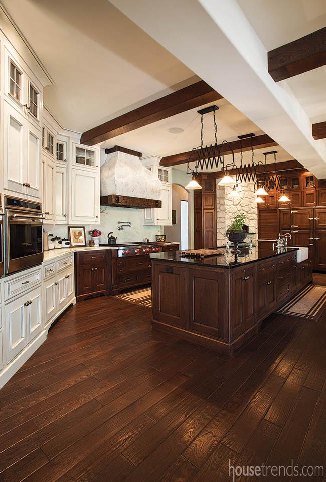 Wood beams mimic harwood flooring below