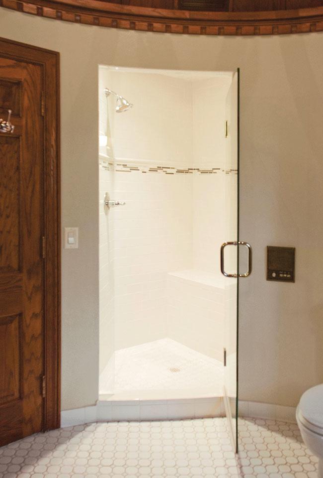 Subway tile dominates a master bathroom shower