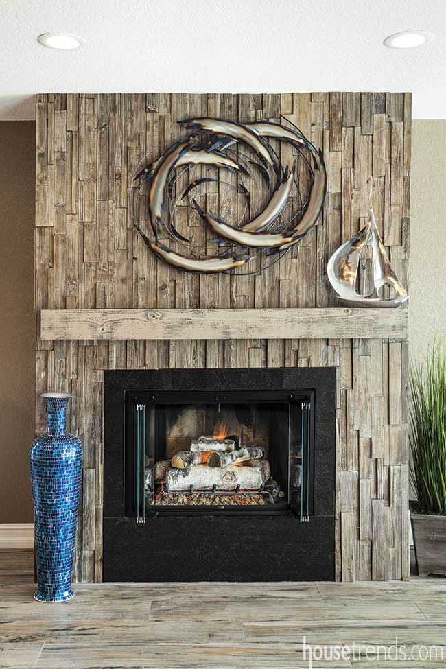 Tile fireplace surround resembles driftwood