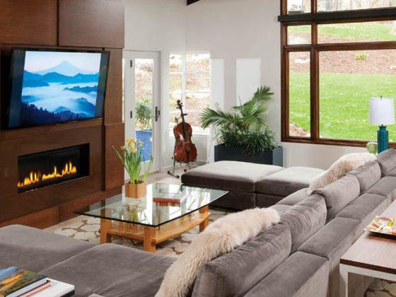 Living room design ideas center around comfort