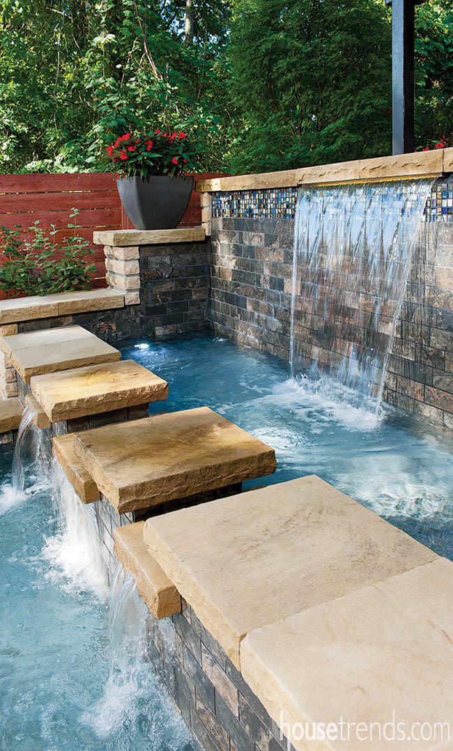 Accent tiles add interest to an outdoor water feature