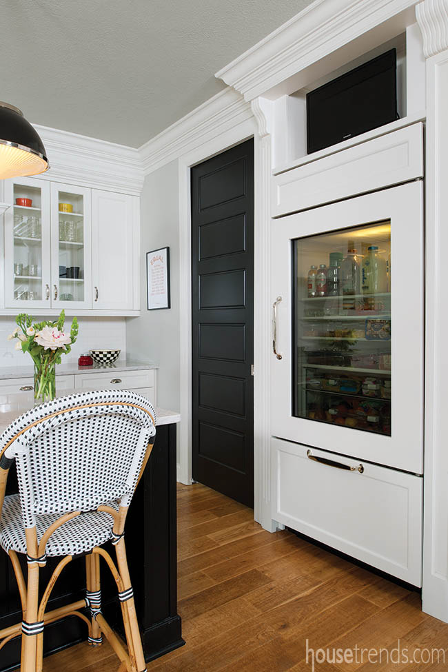 Glass-door refrigerator gives a peek at the contents