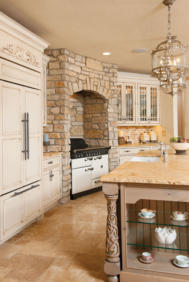 Hidden kitchen appliances help with the area's flow