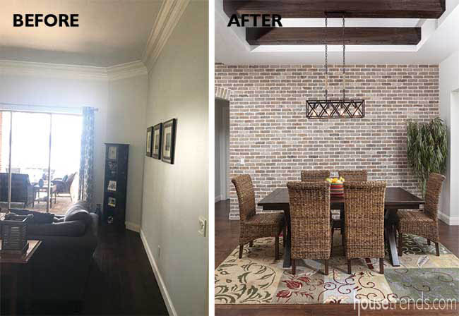 Brick focal wall in a formal dining room