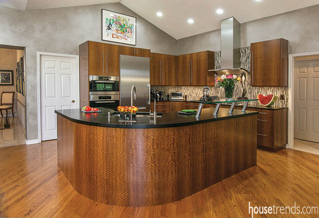 Stunning cabinetry matches the island