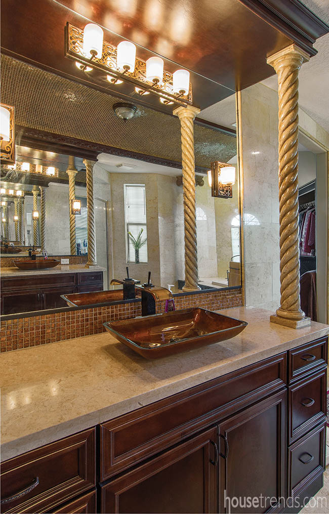 Vessel bowl sinks in an elegant master bath