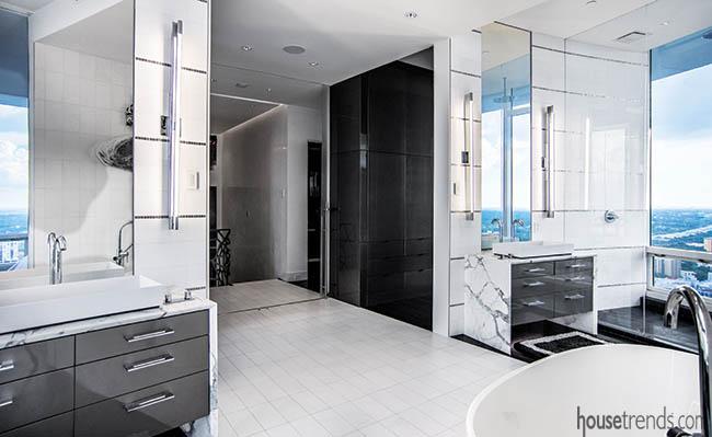 Bathroom vanities with waterfall edges