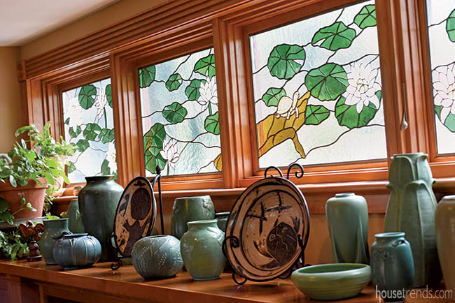 Stained glass windows create privacy