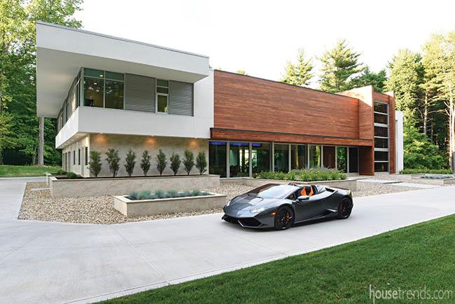 Lamborghini in front of a contemporary home