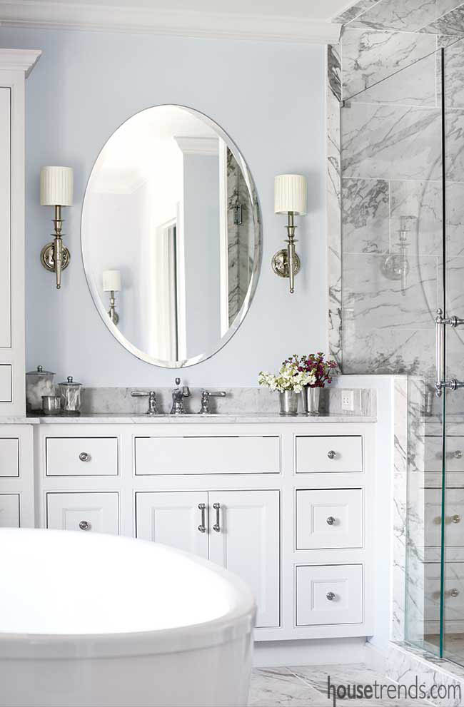 Sconces take center stage in a master bathroom