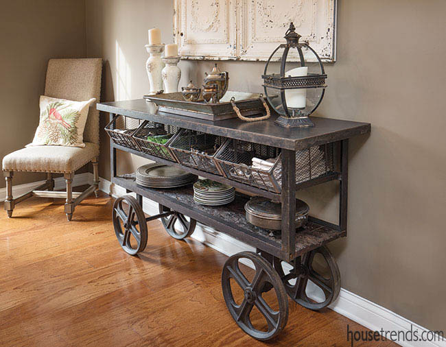 Rustic cart doubles as a buffet table