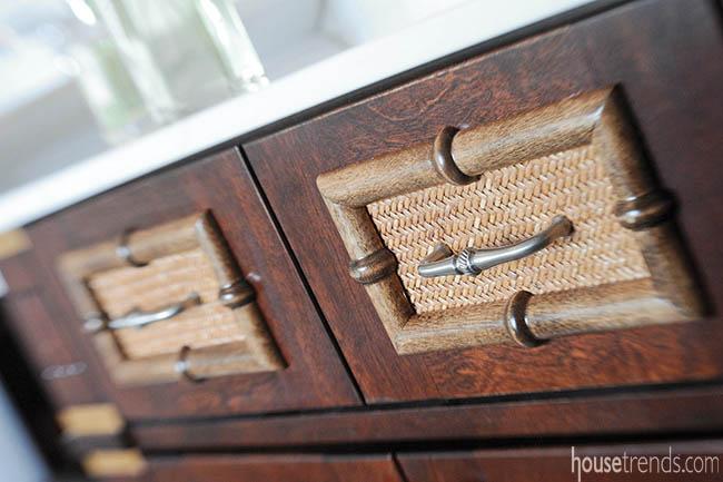 Bathroom vanity cabinet mimics antique dresser