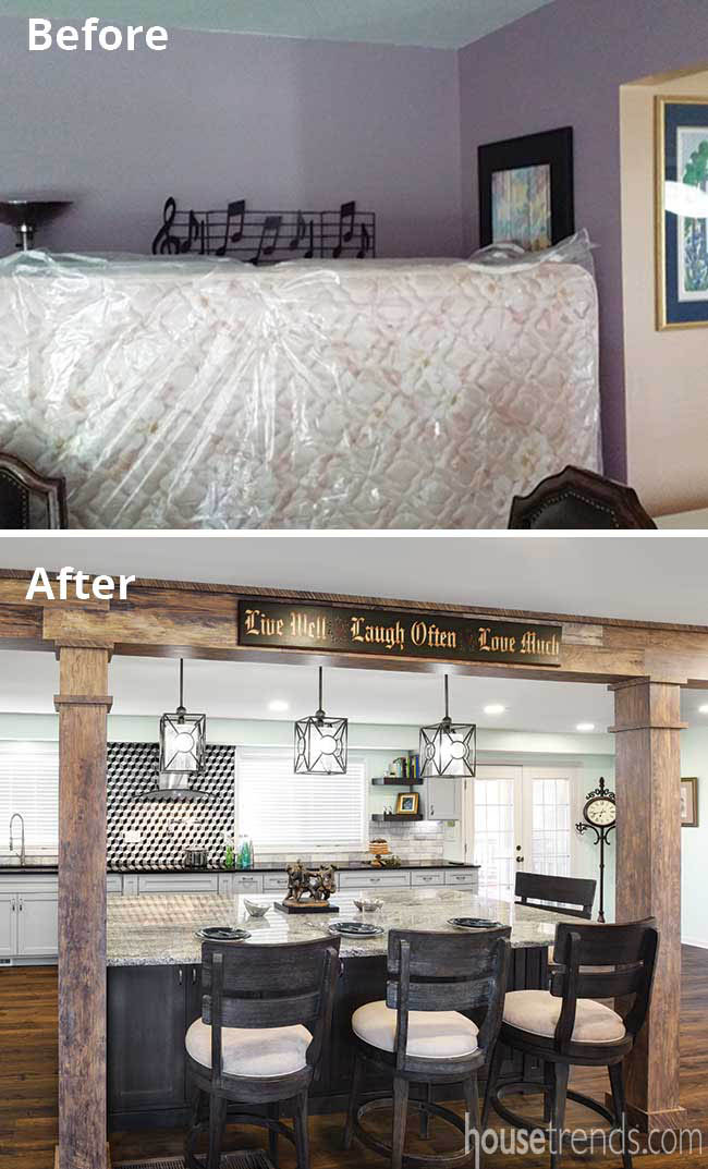 Support beams camouflaged with a faux finish