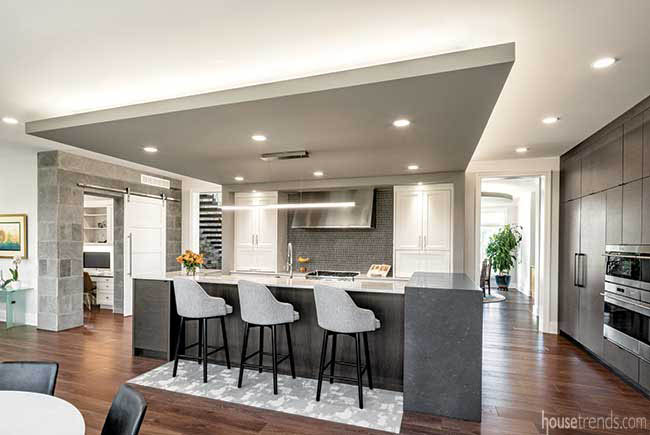 Kitchen ceiling helps define a space