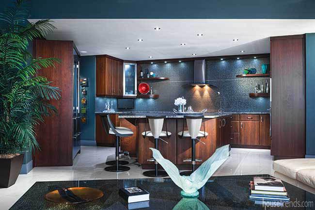 Backsplash shimmers in a gourmet kitchen