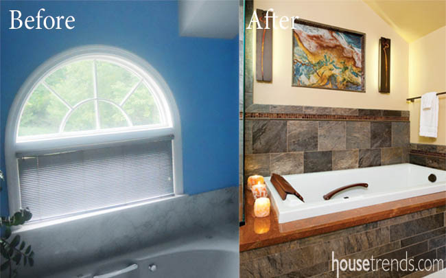 Glass tile gives a bathtub an elegant edge