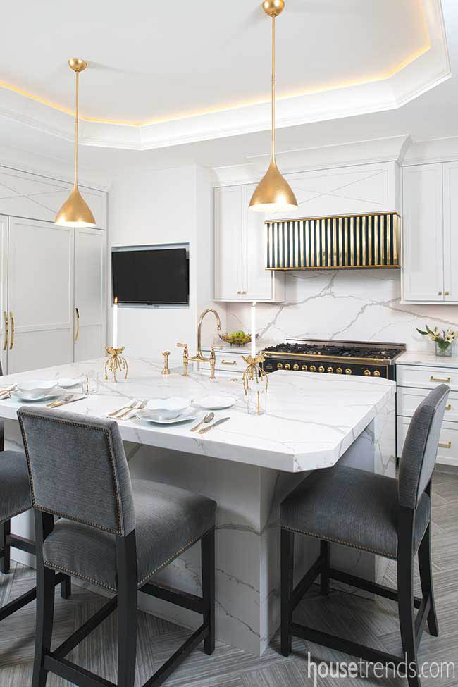 Bead lighting in a dramatic white kitchen