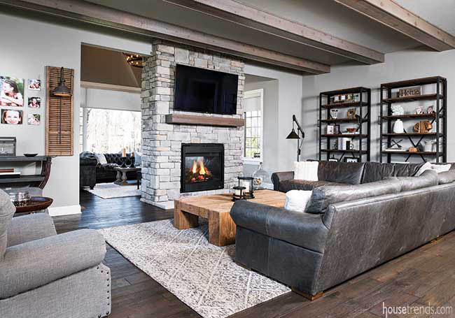 Two-sided fireplace heats up a great room
