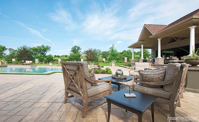 Outdoor furniture creates cozy gathering spaces