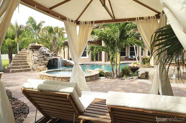 Tropical landscaping adds texture to a back yard