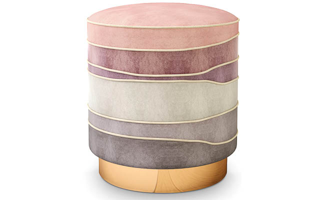 Brass base supports a colorful stool