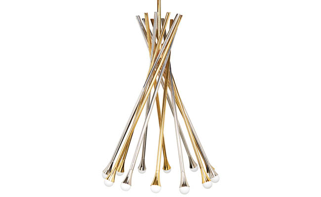 Polished brass and stainless steel twist to form a chandelier