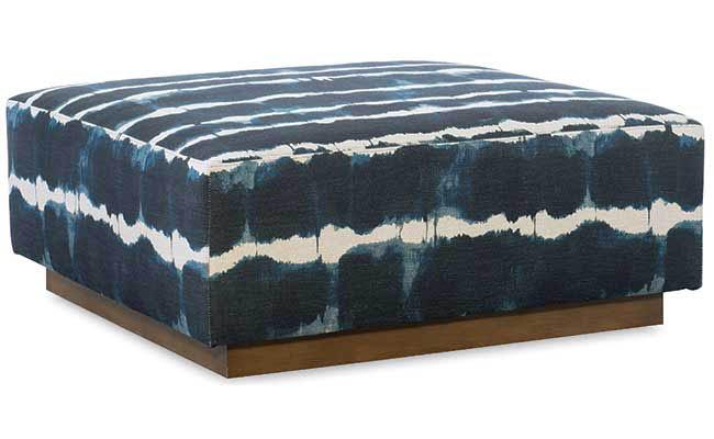 Indigo fabric covers an ottoman