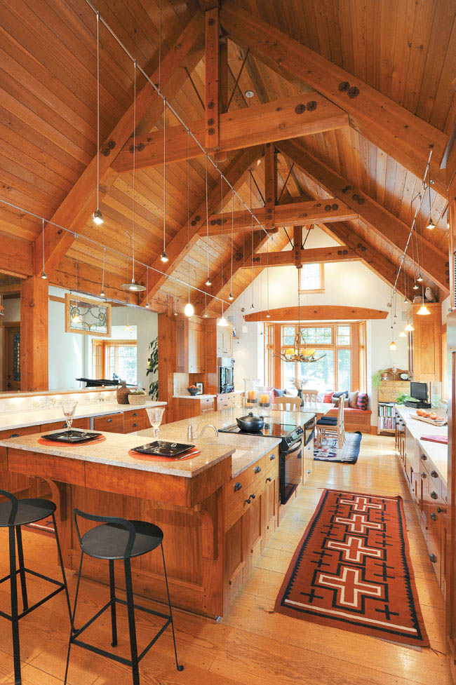 Home's interior mimics the look of a lodge