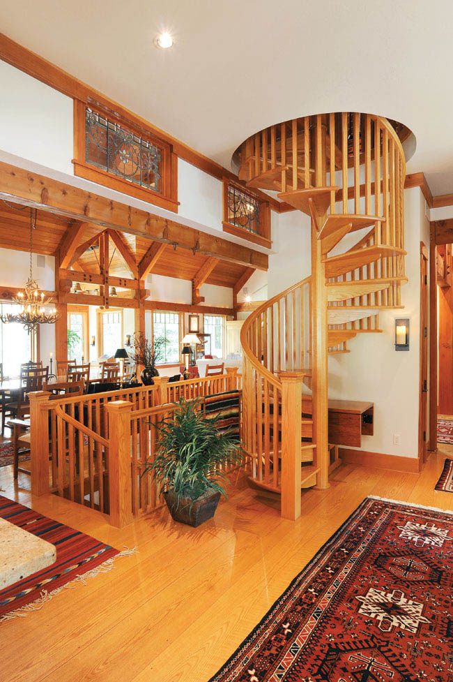 A spiral staircase adds interest to this home